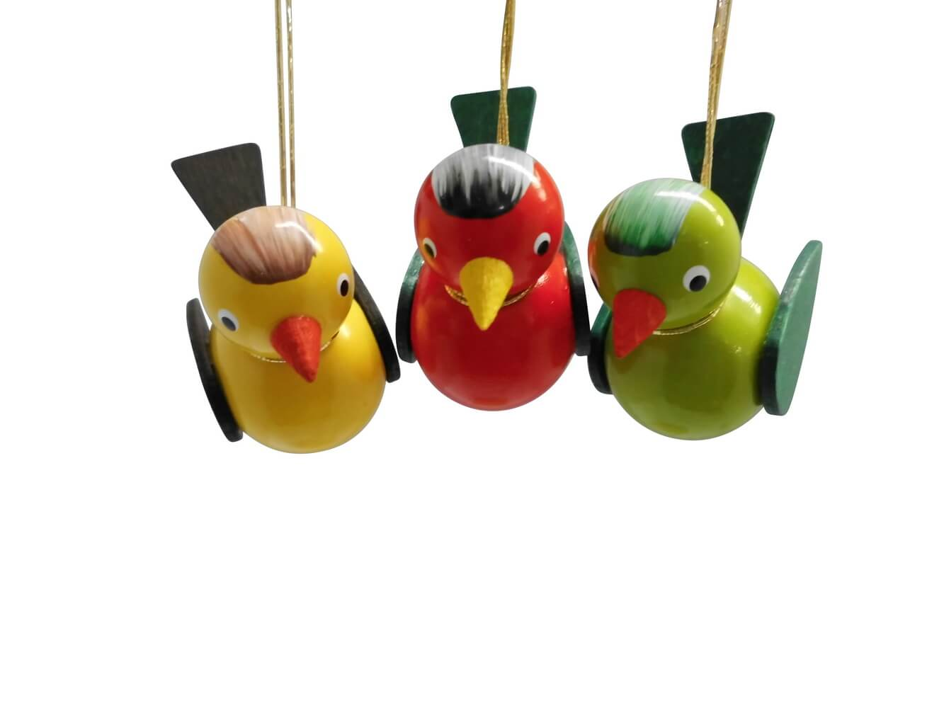 Vögel zum hängen, 3 Stück, farbig, 5 x 4 cm,rot/gelb/grün von Nestler-Seiffen.com OHG Seiffen/ Erzgebirge