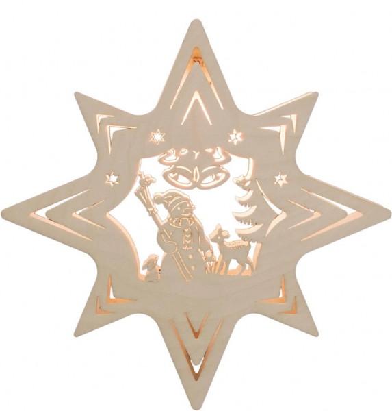 Weigla Beleuchtetes Fensterbild Stern mit Schneemann
