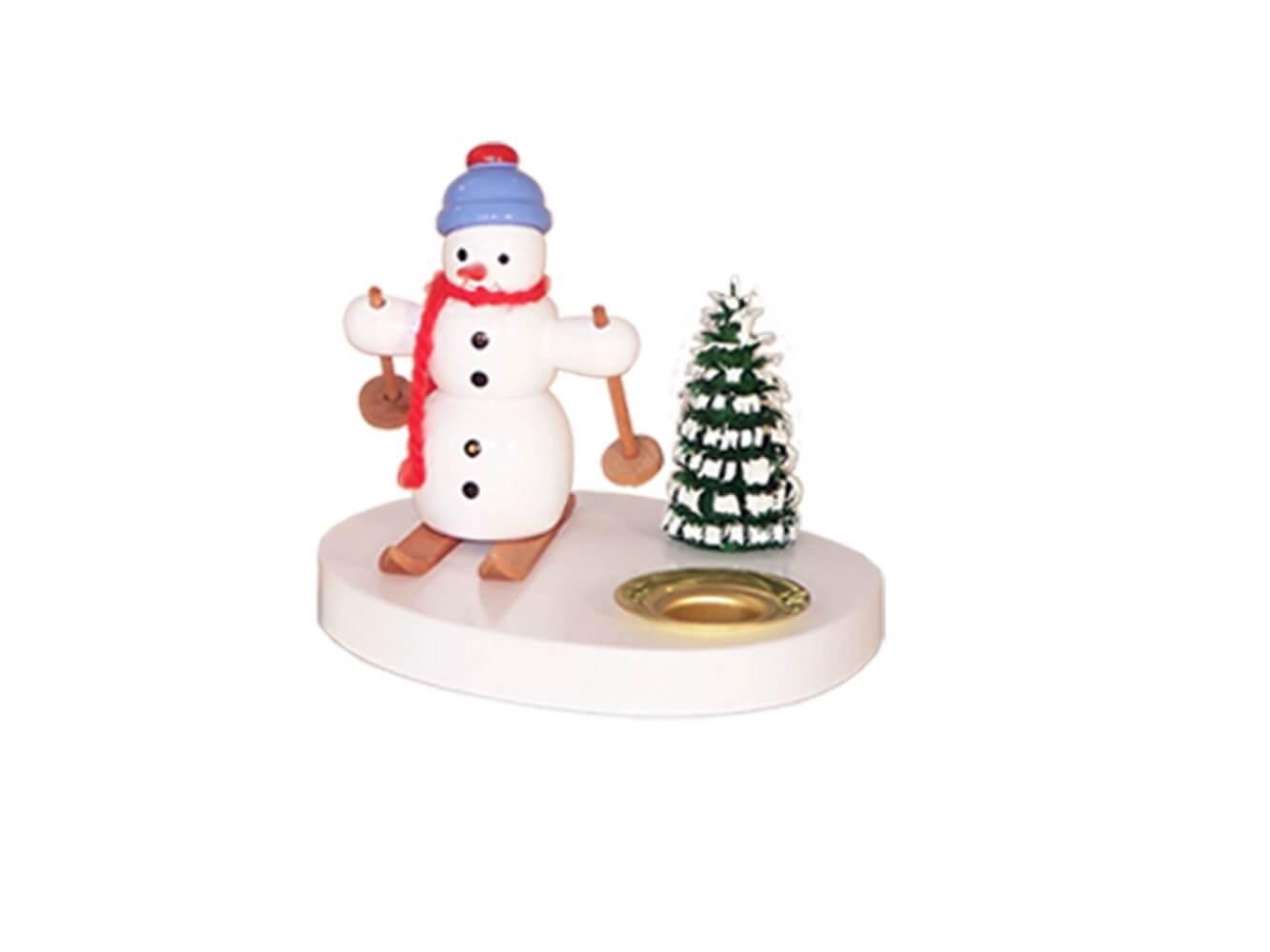 Kerzenhalter Schneemann mit Schneeschuhen, farbig, 8 cm von Volker Zenker aus Seiffen