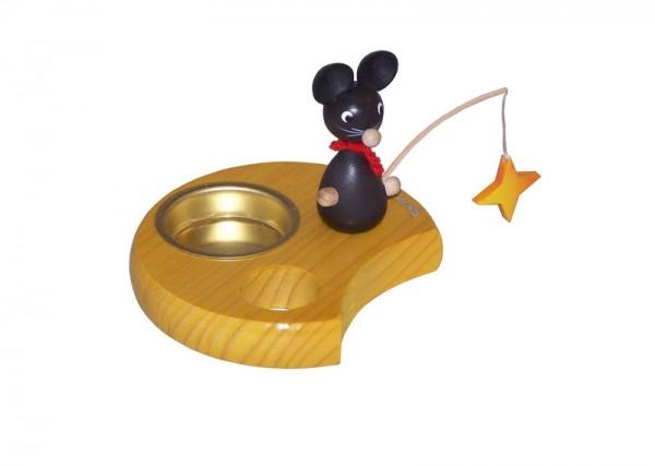 Kerzenhalter & Teelichthalter Maus mit Stern, 6 cm von Volker Zenker Seiffen/ Erzgebirge