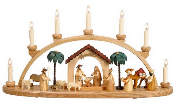 Schwibbogen Heilige Geschichte mit Krippenhaus, 60 cm von Theo Lorenz