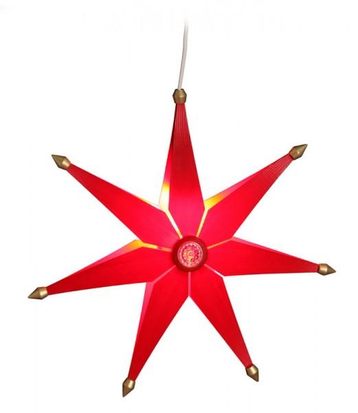Weihnachtsstern elektrisch beleuchtet, einfach rot, 38 cm von Volkskunstwerkstatt Eckert aus Seiffen/ Erzgebirge