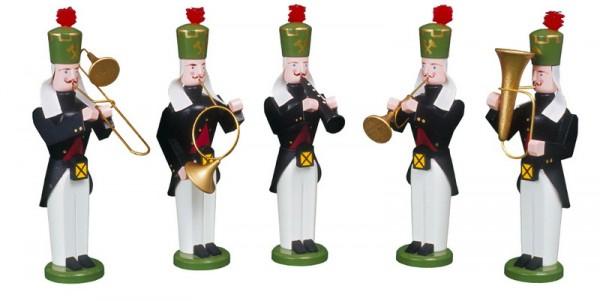 Bergmänner Bläser Quintett, handbemalt und in Handarbeit gefertigt, 13 cm von Volkskunstwerkstatt Eckert aus Seiffen/ Erzgebirge