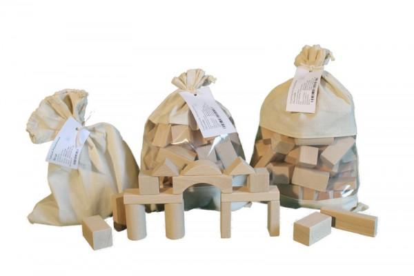 Baubeutel mit 70 Holzbausteine (2,9 cm), natur, Spielalter ab 3 Jahre, Erzgebirgische Holzspielwaren Ebert GmbH Olbernhau/ Erzgebirge
