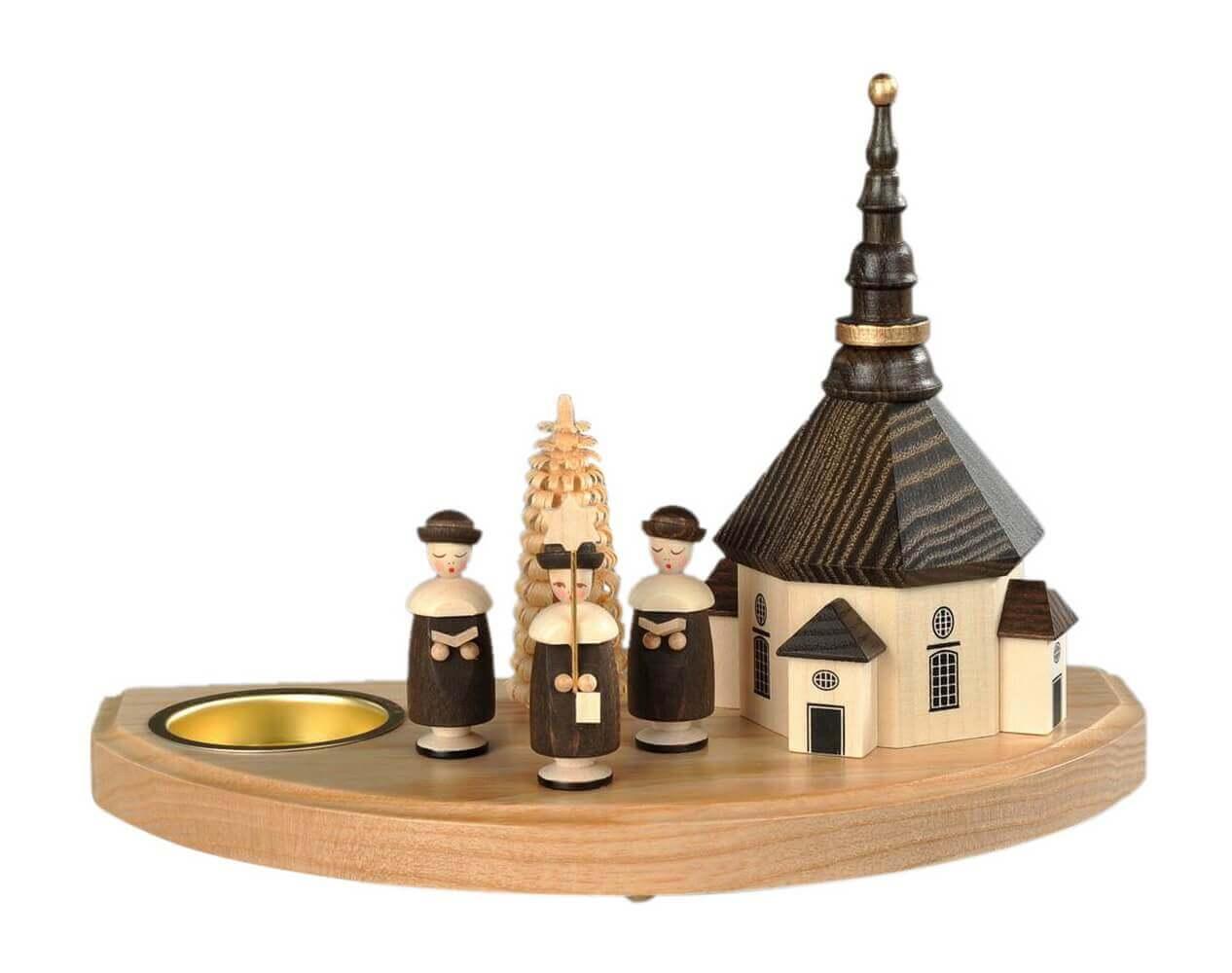 Albin Preißler Weihnachtskerzenhalter Seiffener Kirche für Teelichter