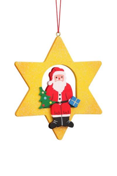Baumbehang &Christbaumschmuck Weihnachtsmann im Stern, 6 Stück, 8 x 10 cm von Christian Ulbricht GmbH & Co KG Seiffen/ Erzgebirge