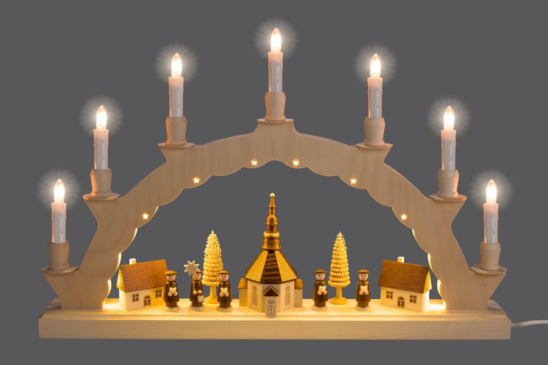 Der LED Schwibbogen Seiffener Dorf mit 2-facher Beleuchtung verzaubert mit seiner wunderschönen Illuminierung des Bogens. Neben den klassischen 7 Kerzen auf …
