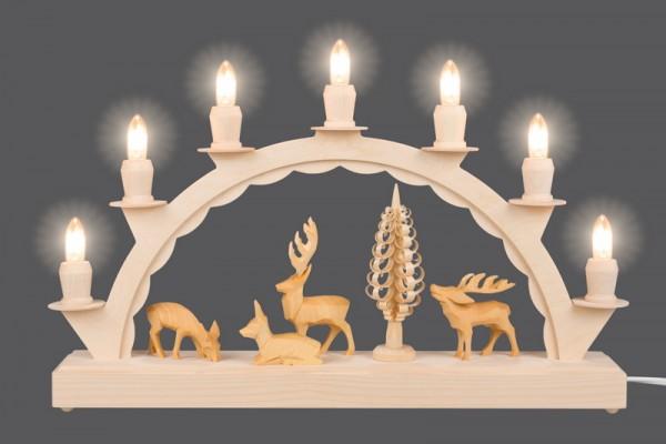 LED Schwibbogen mit geschnitzen Hirschen von Nestler-Seiffen