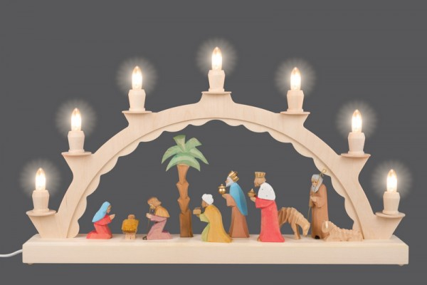 LED Schwibbogen mit geschnitzter Christi Geburt, bunt, elektrisch beleuchtet, LED, 50 x 28 cm, Ersatzkerzen: EL55LED, Nestler-Seiffen.com OHG Seiffen/ …