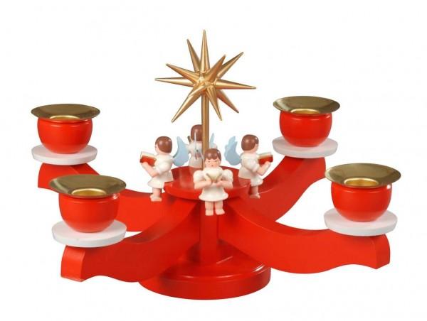 Albin Preißler Adventsleuchter mit 4 sitzenden Engeln, rot