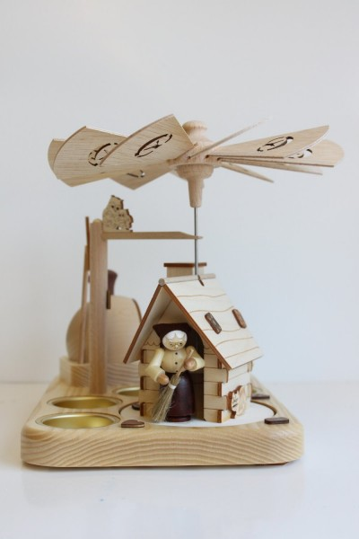 Weihnachtspyramide & Räucherpyramide Hänsel und Gretel für Teelichter, natur, 18 cm, Legler Holz- und Drechslerwaren Olbernhau/ Erzgebirge