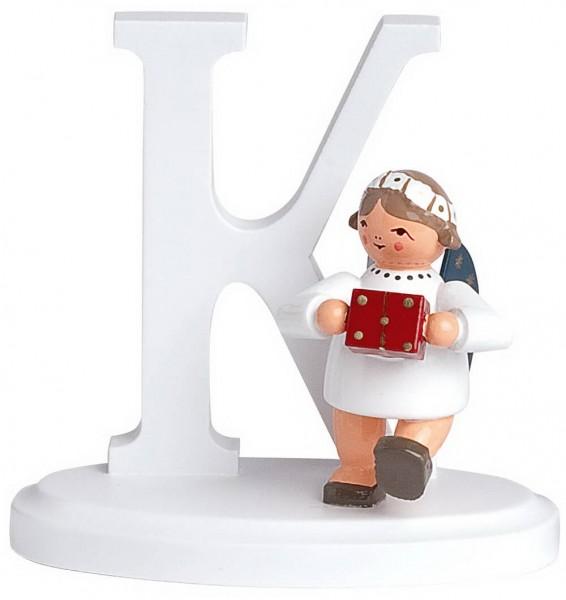 KWO Weihnachtsengel mit dem Buchstaben K aus dem Erzgebirge