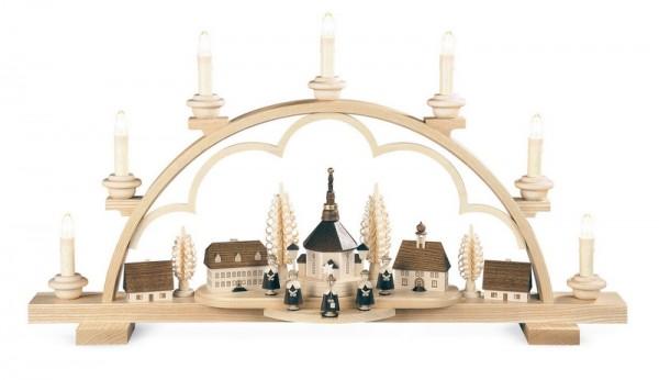 Schwibbogen Seiffener Dorf, elektrisch beleuchtet, natur, LED (110 - 230 V 50Hz), 64 x 13 x 35 cm, Müller GmbH Kleinkunst aus dem Erzgebirge