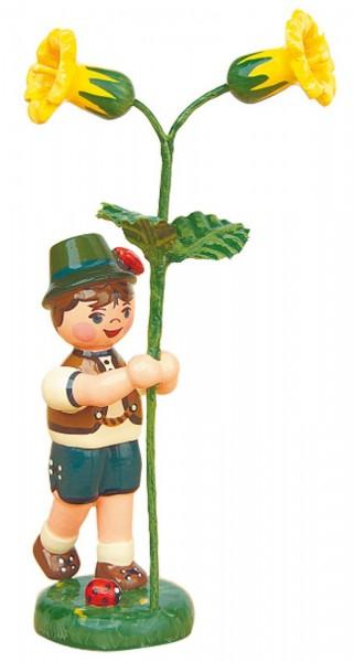 Blumenkinder - Blumenkind Junge mit Schlüsselblume, 11 cm von Hubrig Volkskunst GmbH Zschorlau/ Erzgebirge