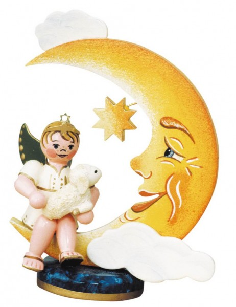 Weihnachtsengelbub mit Mond und Schäfchen von Hubrig Volkskunst GmbH Zschorlau/ Erzgebirge ist 10 cm groß.