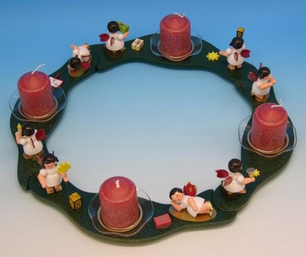 Adventskranz & Adventsleuchter mit 8 Weihnachtsengeln mit roten Flügeln, inklusive. 4 Kerzen, 4 Glasschalen, Durchmesser 35 cm, Frieder & André Uhlig …