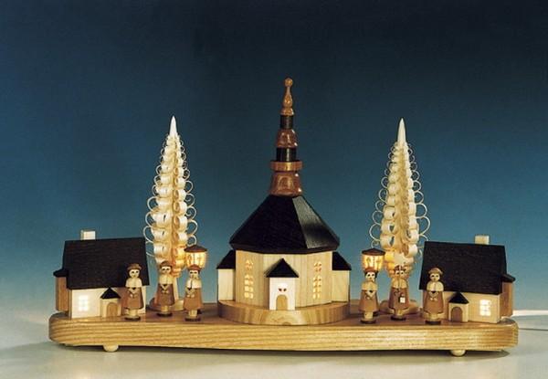Sockelbrett Seiffener Kirche mit Kurrende, komplett elektrisch beleuchtet, 16 x 36 cm, Knuth Neuber Seiffen/ Erzgebirge