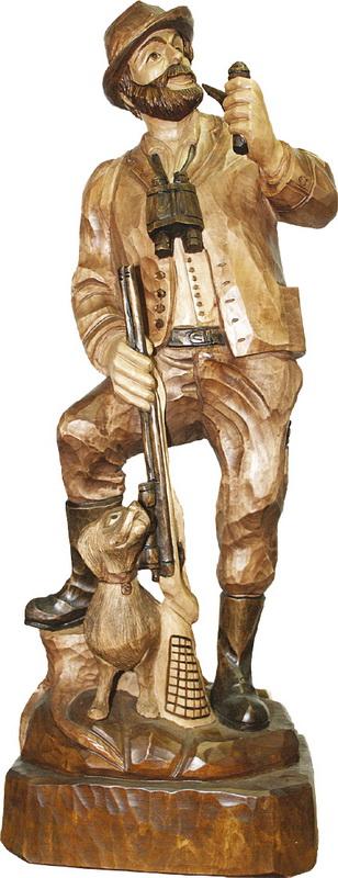 Förster Gewehr bei Fuß, gebeizt, geschnitzt, in verschiedenen Größen