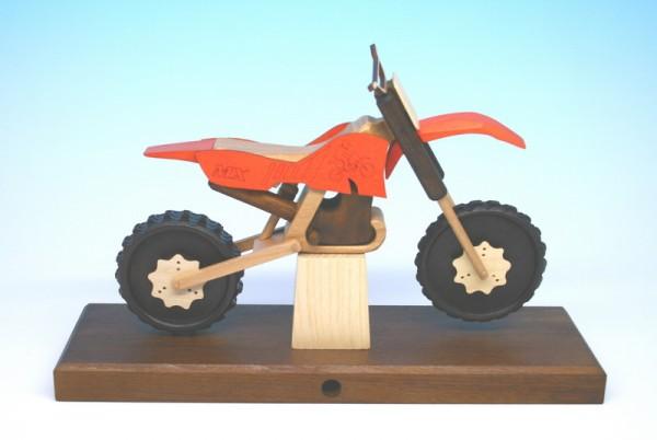 Räuchermann & Räuchermotorrad Cross, orange, 27 x 18 x 8 cm, Gerd Hofmann Seiffen/ Erzgebirge