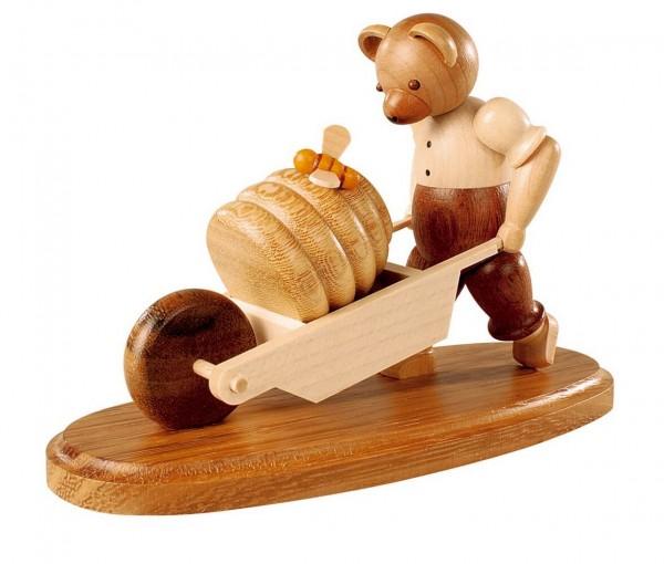 Dekofigur Bär mit Schubkarre aus Holz, naturfarben von Müller Kleinkunst aus Seiffen