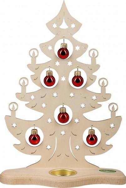 Weigla Teelichthalter Weihnachtsbaum mit roten Kugeln