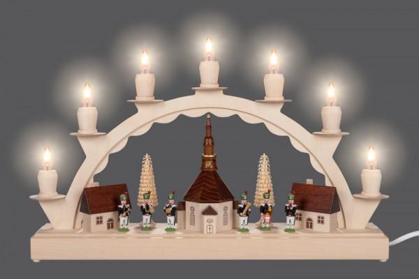 LED Schwibbogen Seiffener Dorf mit Bergmannskapelle von Nestler-Seiffen