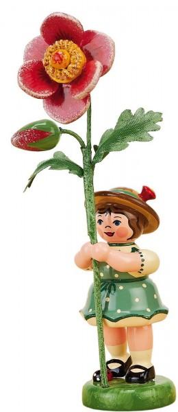 Blumenkinder - Blumenkind Mädchen mit Heckenrose, 11 cm von Hubrig Volkskunst GmbH Zschorlau/ Erzgebirge