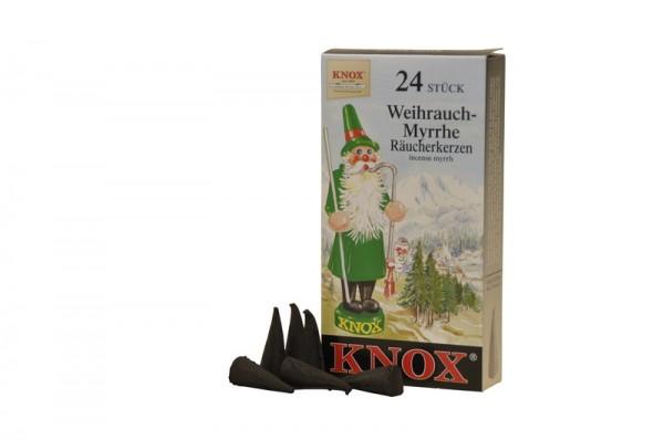 Räucherkerzen - Weihrauch-Myrrhe, 24 Stück pro Packung von KNOX - Apotheker Hermann Zwetz
