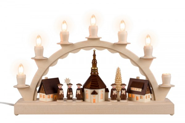 Schwibbogen kleines Seiffener Dorf mit Kurrende, 7 Kerzen, komplett elektrisch beleuchtet, 38 x 24 cm, Nestler-Seiffen.com OHG Seiffen/ Erzgebirge