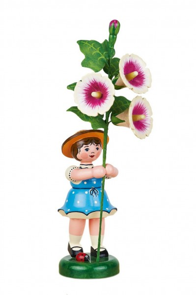 Mädchen mit Stockrose aus Holz aus der Serie Hubrig Blumenkinder