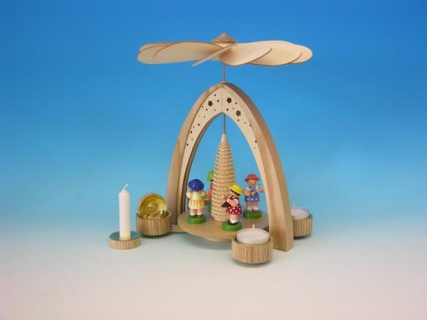 Frühlingspyramide & Osterpyramide natur mit 4 Instrumentenkinder, bunt, inklusive Pyramidenkerzenadapter, 27 cm von Frieder & André Uhlig Seiffen/ …