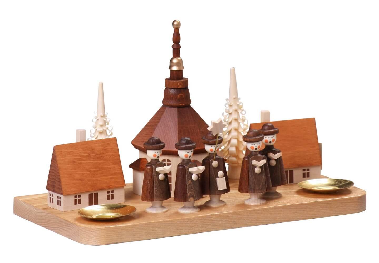 Kerzenhalter groß Seiffener Dorf, 13 cm von Thomas Preißler