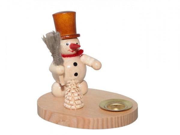 Kerzenhalter mit Schneemann, natur, 8 cm von Volker Zenker aus Seiffen