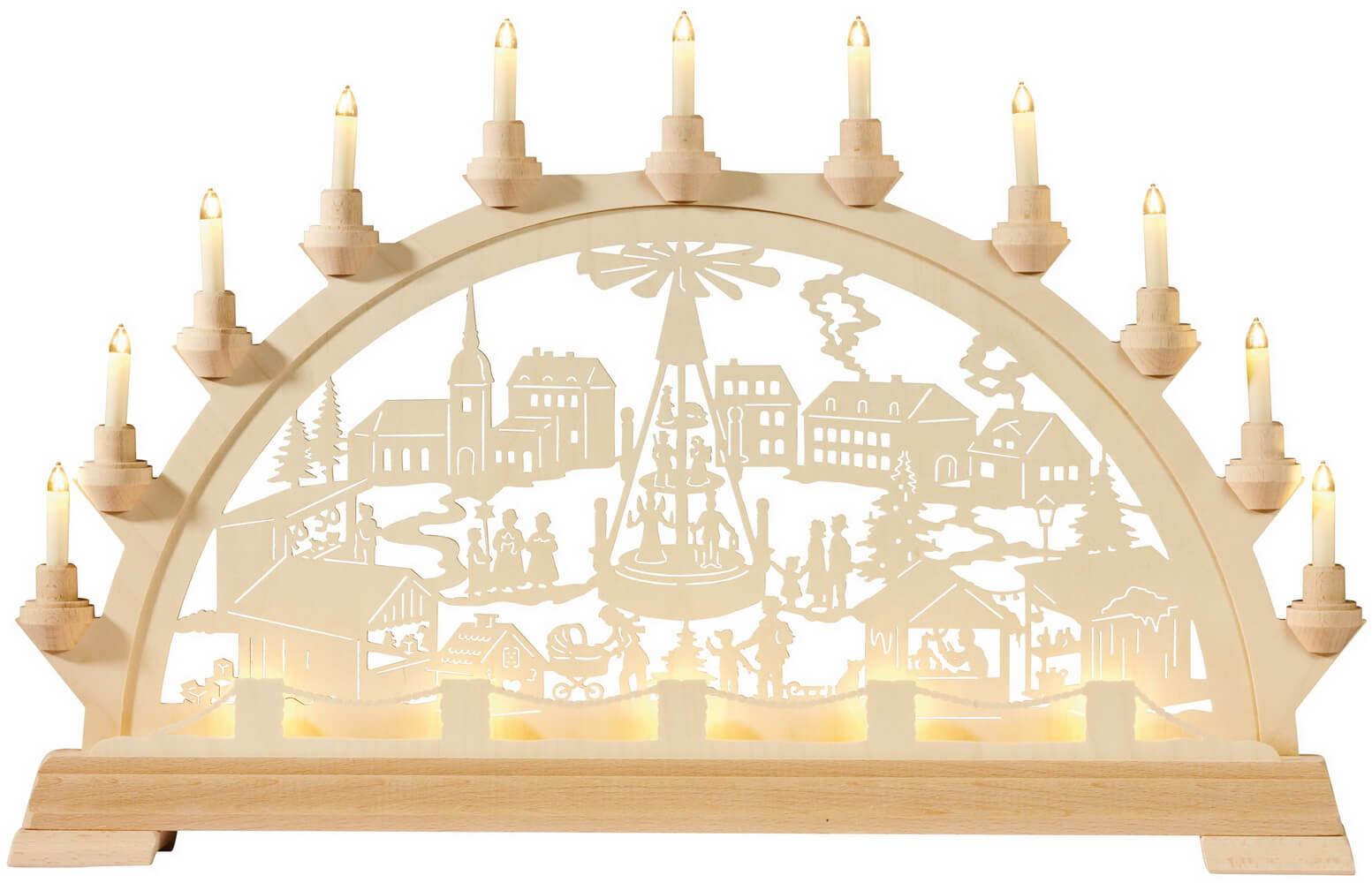 KWO Schwibbogen Motiv Weihnachtsmarkt mit Pyramide elektrisch beleuchtet