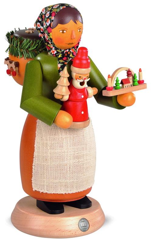 Räuchermann Holzspielzeugverkäuferin, groß, 25 cm, Müller GmbH Kleinkunst aus dem Erzgebirge