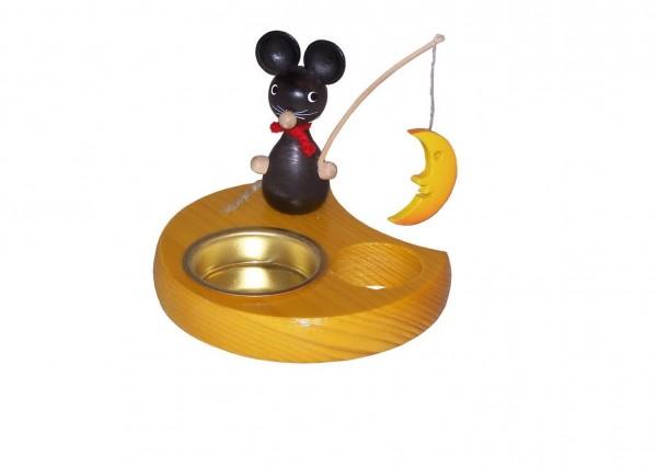 Teelichthalter Maus mit Mond, farbig, 6 cm von Volker Zenker aus Seiffen