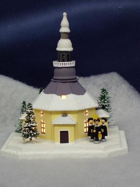 Lichterhaus Seiffener Kirche mit beleuchtetem Weihnachtsbaum, elektrisch innenbeleuchtet , 18,5 x 16,5 x 21 cm, Birgit Uhlig Olbernhau/ Erzgebirge