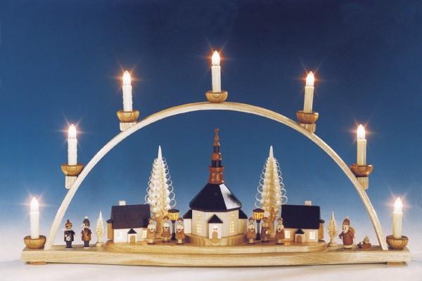 Schwibbogen Seiffener Kirche mit beleuchteten Laternen, komplett elektrisch beleuchtet, 66 cm, Knuth Neuber Seiffen/ Erzgebirge