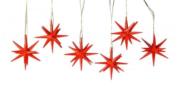 Christbaumschmuck aus Holz, Weihnachtssterne rot, 6-teilig hergestellt von Albin Preißler_Bild1