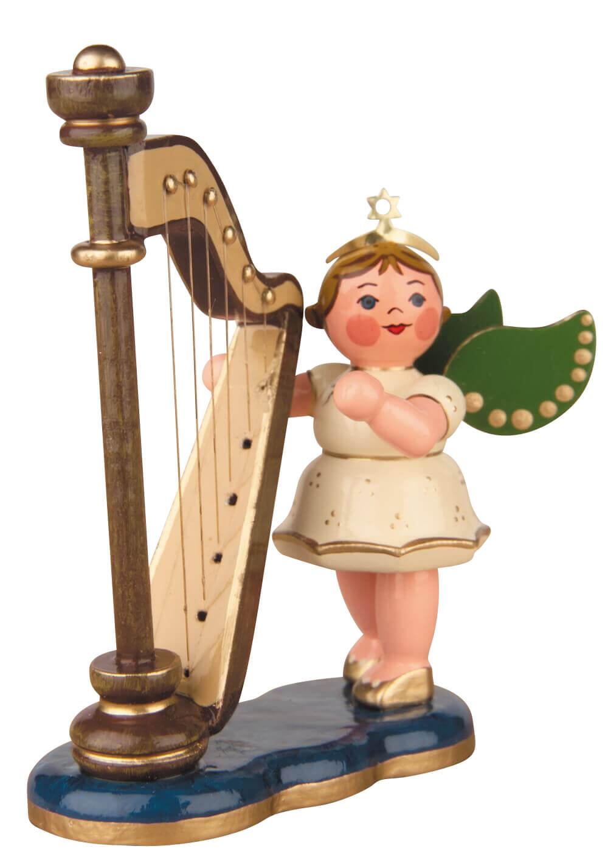 Hubrig Volkskunst Weihnachtsengel mit Harfe aus Holz