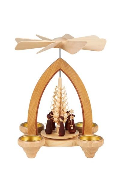 Weihnachtspyramide mit Kurrende, 26 cm für Teelichter hergestellt von Heinz Lorenz_Bild1