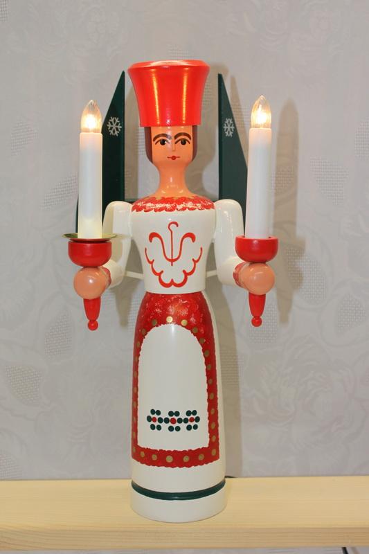 Weihnachtsengel, bunt, elektrisch beleuchtet, 34 cm von Nestler-Seiffen.com OHG Seiffen/ Erzgebirge