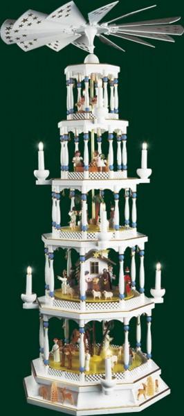 Weihnachtspyramide Romantic, 5-stöckig mit 36er Spielwerk, Melodie: Stille Nacht, elektrisch angetrieben und beleuchtet, weiß, 123 cm, Richard Glässer GmbH …