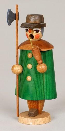 Räuchermann Nachtwächter, grün, 11 cm, Jan Stephani Seiffen/ Erzgebirge