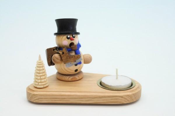 Weihnachtskerzenhalter Schneemann mit Schlittschuh, natur, 14 x 8 x 8 cm, Gerd Hofmann Seiffen/ Erzgebirge