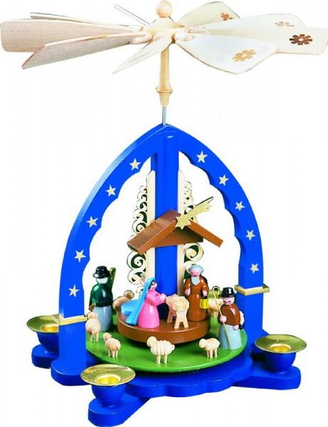 Weihnachtspyramide Christi Geburt, blau, 27 cm, Richard Glässer GmbH Seiffen/ Erzgebirge