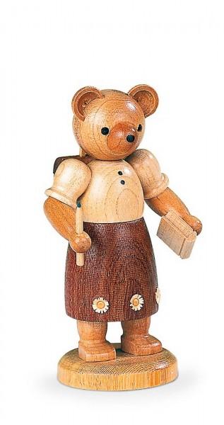 Dekofigur Bärenschulmädchen aus Holz, naturfarben von Müller Kleinkunst aus Seiffen