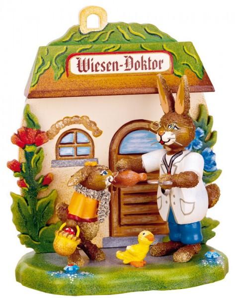 Osterhasen Wiesen - Doktor, 12 cm, Hubrig Volkskunst GmbH Zschorlau/ Erzgebirge