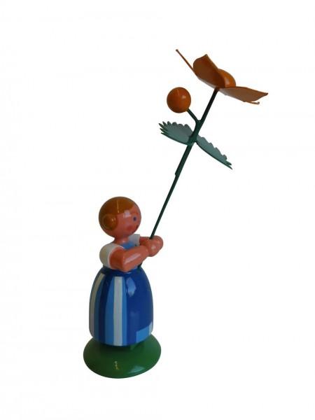 Blumenkinder - Wiesenblumenkind Mädchen mit Sumpfdotterblume, 11 cm von WEHA-Kunst Dippoldiswalde/ Erzgebirge