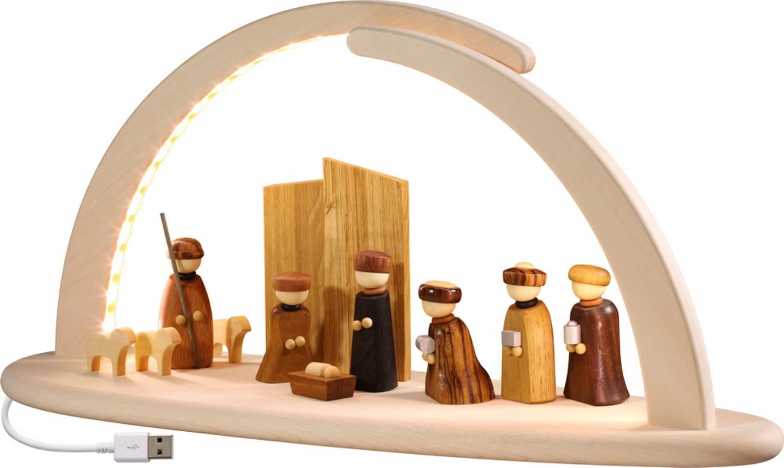naturbelassener LED Schwibbogen mit Motiv Christi Geburt
